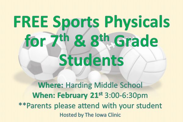 FREE Sports Physicals for 7th & 8th Grade Students